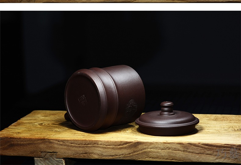 Qiao product ore purple sand cup cup for QD office cover cup old purple clay hand carved bamboo cups of zen tea of Yin and Yang