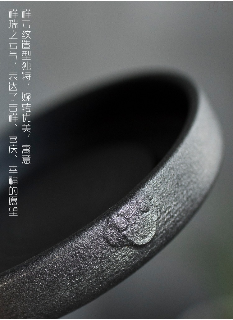Qiao mu black ceramic POTS bearing Japanese dry machine ceramic pot of restoring ancient ways round the teapot base hand tea taking with zero