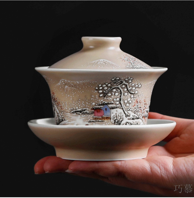 Qiao mu PMZ jingdezhen pure manual tureen cup three glass ceramics retro hand - made the home of kung fu tea set