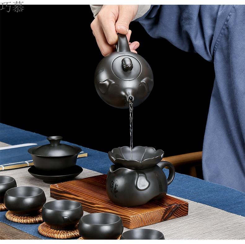 Qiao longed for home office undressed ore dark violet arenaceous mud manual kung fu tea set ceramic teapot tea tea pot