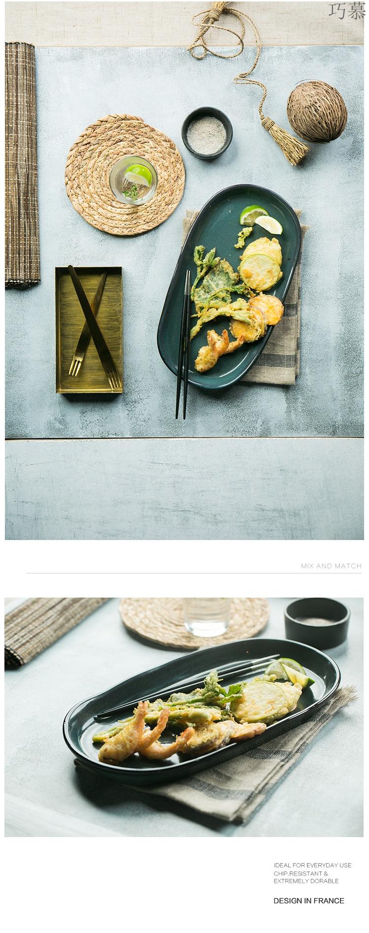 Qiao mu DY green manual strip plate of coarse pottery irregular flat dish dish fish dish fruit bowl shallow restoring ancient ways