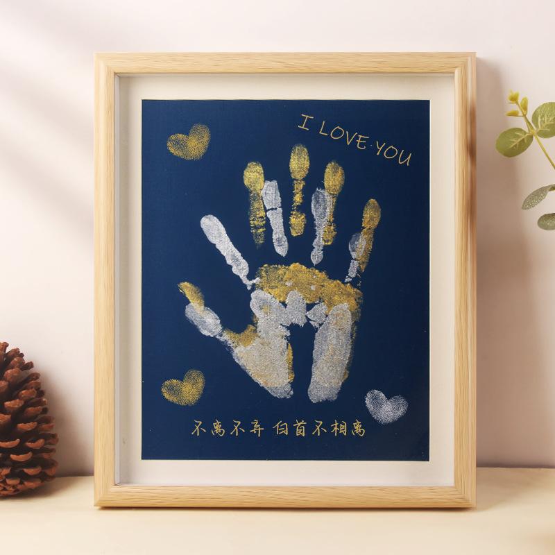 情侣手印相框彩色颜料手足印手掌印画送男女朋友百天diy纪念礼物2