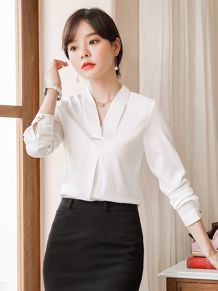 White shirt women's autumn new 2019 Korean version of the professional ladies long-sleeved shirt fashion OL temperament top