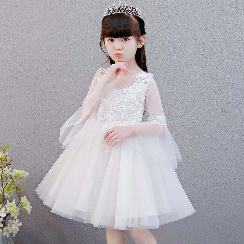 Cô gái công chúa váy fluffy gạc hoa trắng cô gái váy cưới trẻ em trang phục piano sinh nhật bên váy chủ nhà nhỏ - Váy trẻ em