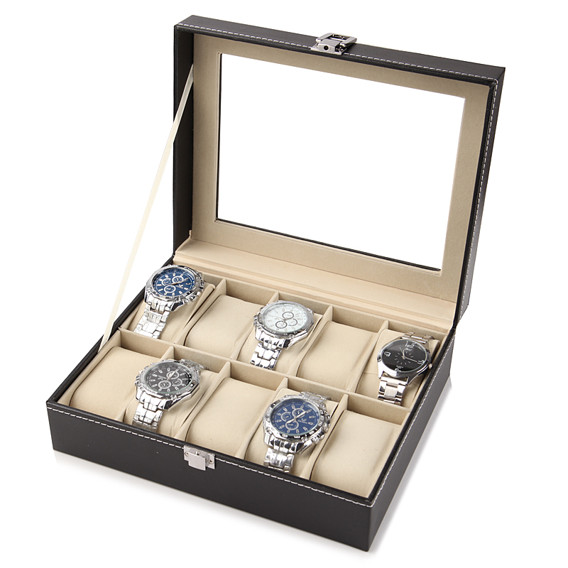 DELUXE EDITION 10-BIT WATCH BOX (GLASS COVER)