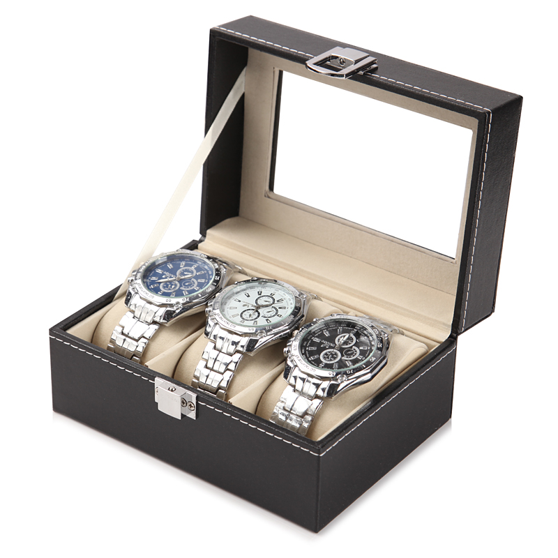 DELUXE EDITION 3 WATCH BOX (GLASS COVER)