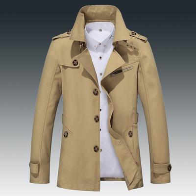 【纯棉】春秋季男士风衣中长款韩版修身帅气休闲男士夹克青年外套