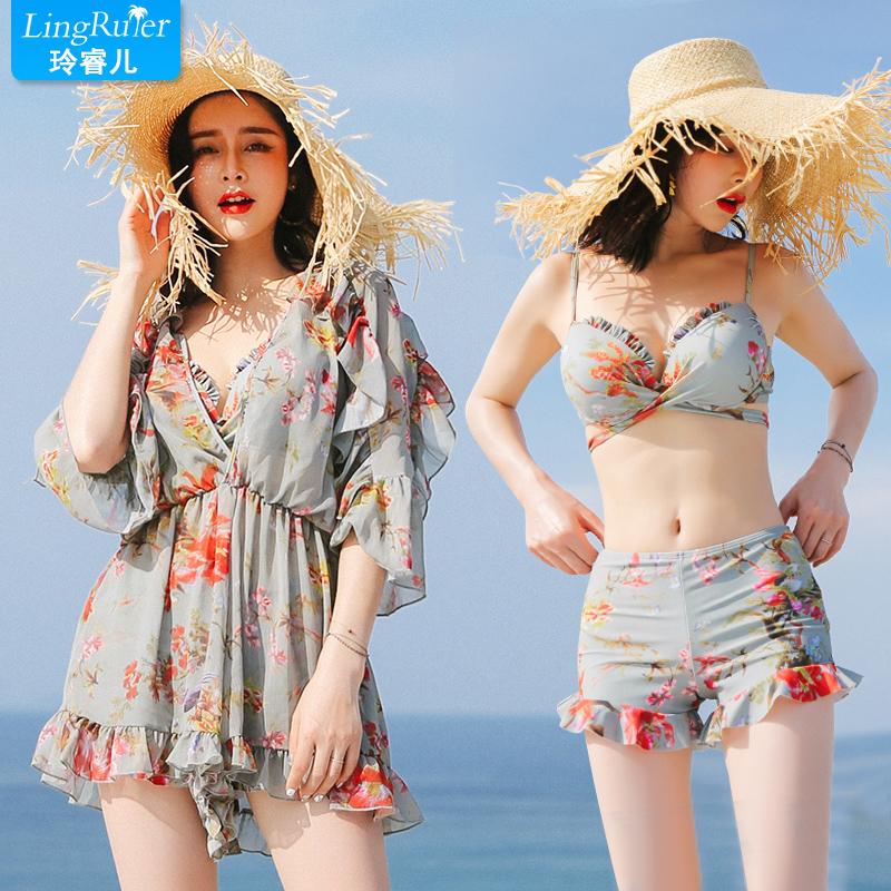分体泳衣仙女范三件套比基尼保守小胸聚拢遮肚显瘦性感韩国ins风