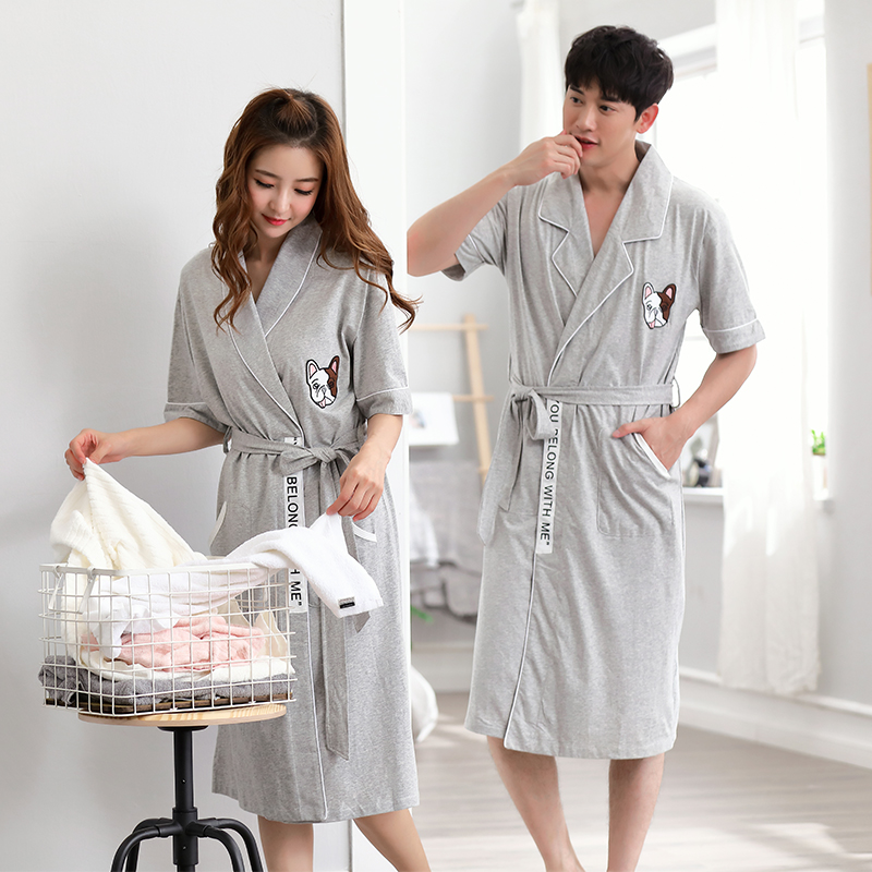 0aae4438e0 Couple nightgown male summer bathrobe female summer cotton sexy long  section thin section cotton men s pajamas