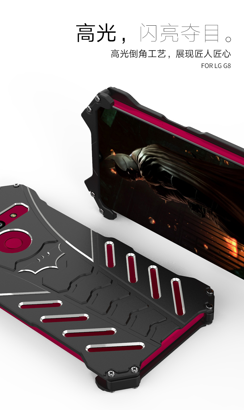 R-Just Batman Shockproof Aluminum Shell Metal Case with Custom Batarang Stent for LG G8 ThinQ