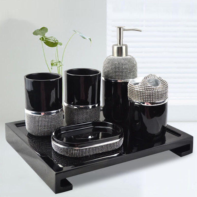 . Modern simple bathroom five sets of creative European wash cup bathroom  supplies suite bathroom toothbrush holder set
