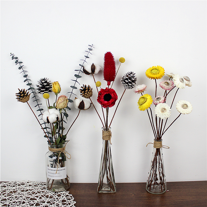 Eucalyptus dried flower bouquet with vase ins small fresh decoration ...