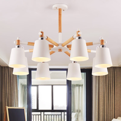 Nordic Wood Chandelier Living Hall Restaurant Creative Personality LED Branch Table Black White Wood Japanese Lighting
