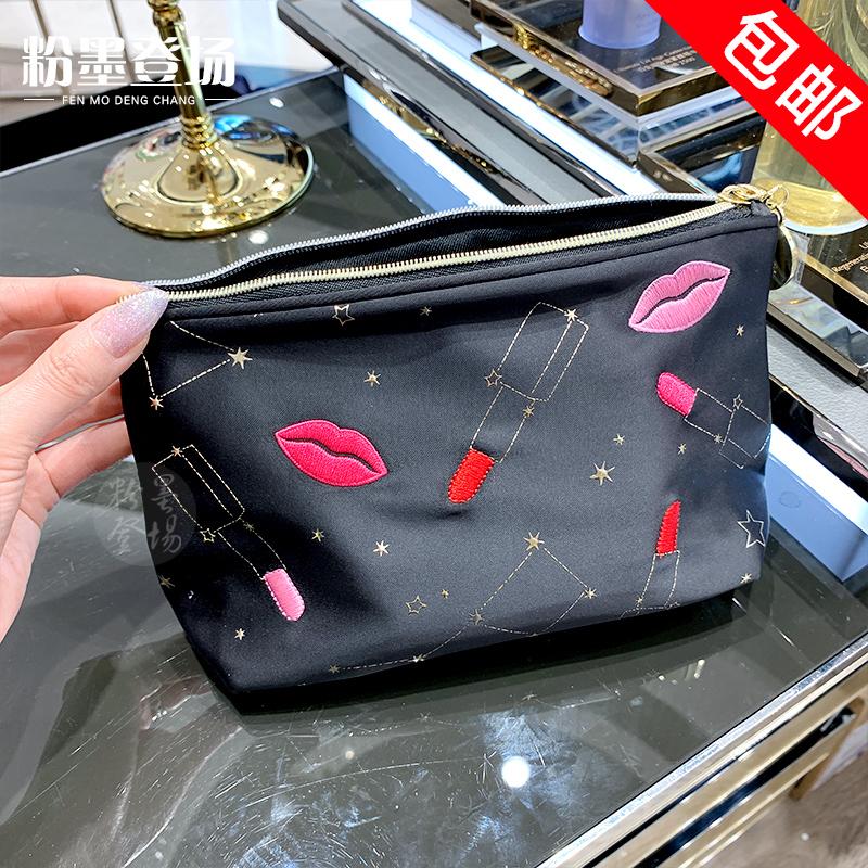 雅诗兰黛专柜赠品秋季黑色红唇星座化妆包带拉链收纳手拿包大容量
