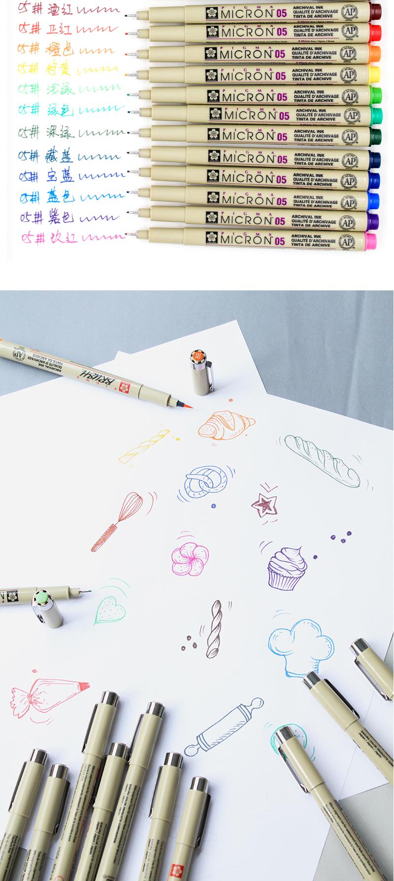 日本进口樱花彩色针管笔防水勾线笔套装漫画描边笔设计手绘画笔绘图笔樱花牌动漫设计黑色勾边笔绘图笔简笔画笔详细照片