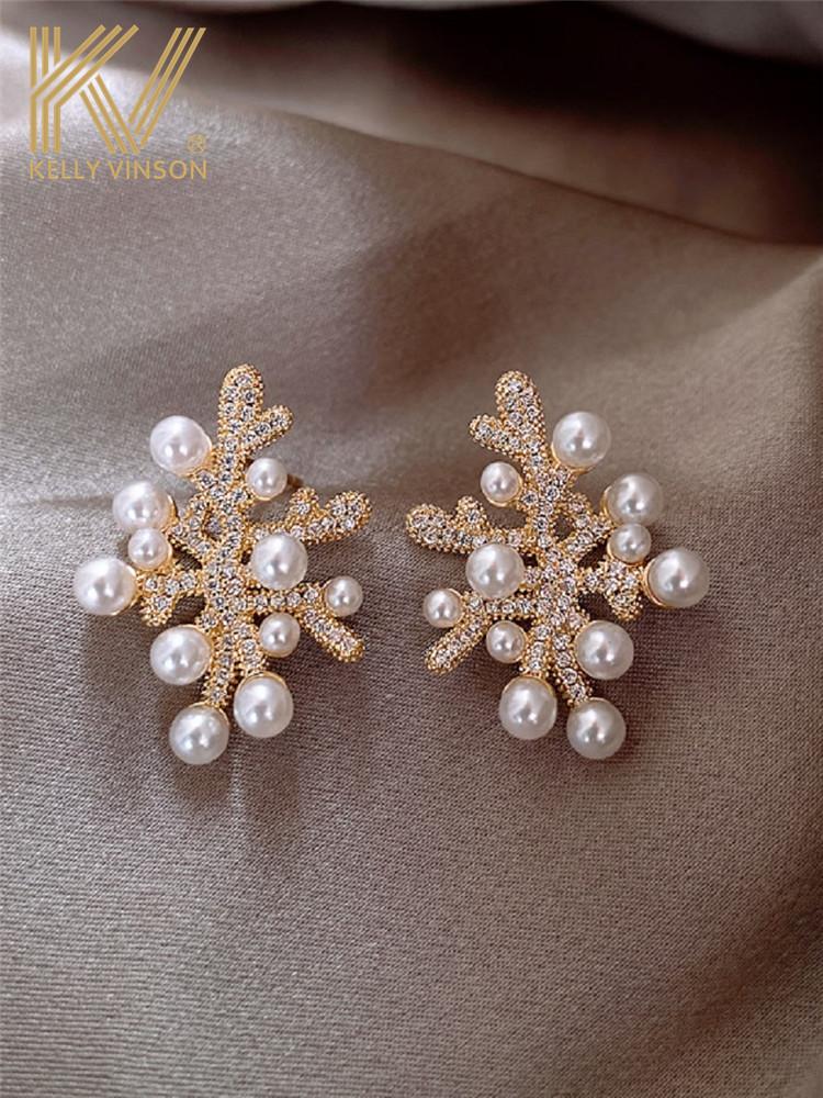 Earrings 2021 new fashion pearl stud earrings female niche design sense 925 sterling silver temperament high-end atmospheric earrings