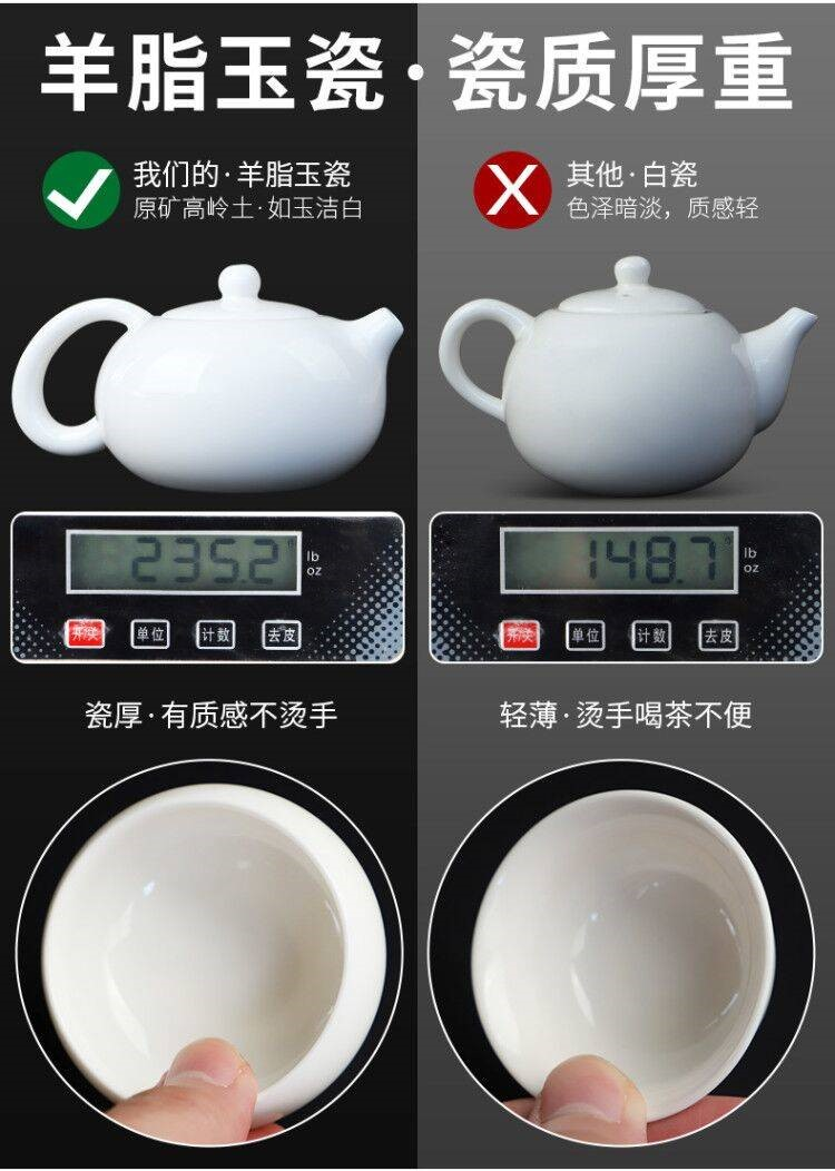 The kitchen white porcelain tea set a complete set of domestic tea cup lid bowl suet jade porcelain kung fu tea set