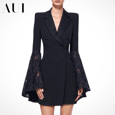 European station 2021 spring and autumn new women's black fashion casual small suit jacket female design sexy small suit
