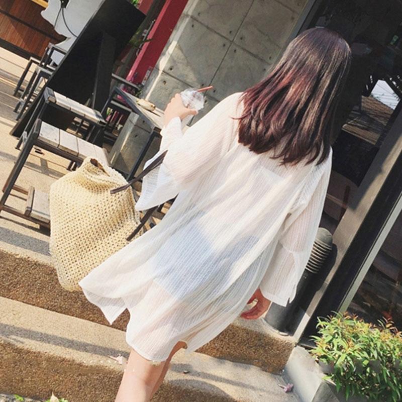 海边防晒衣披肩上衣空调开衫罩衣网纱外套罩衫女沙滩中长款温泉衫