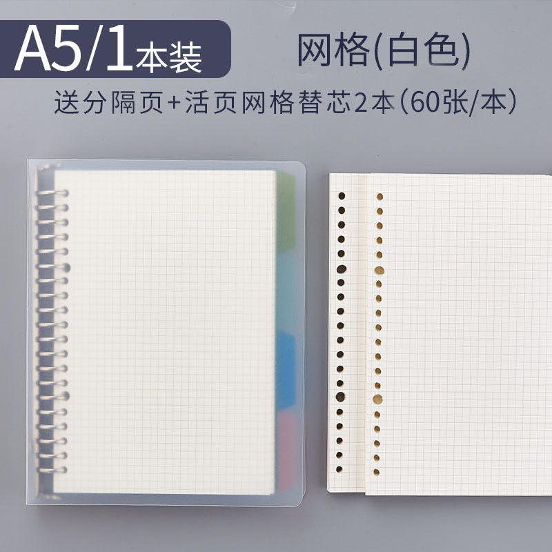 A5 Grid Book 1 (send 4 Separator Pages) + 2 Refills