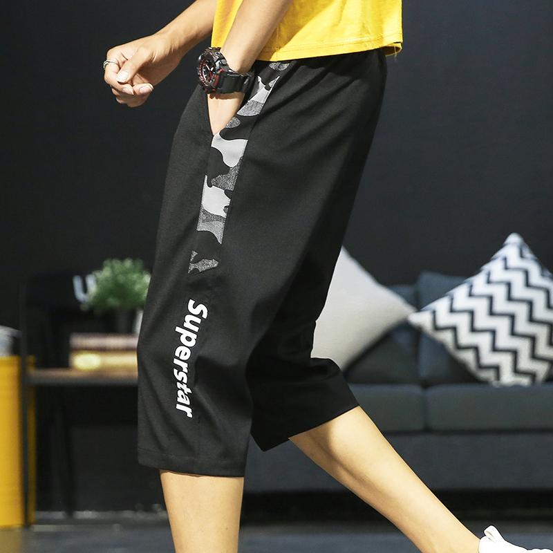 夏季冰丝薄款潮流韩版短裤宽松v潮流五分休闲裤七分裤修身裤子男士