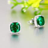 Color gemstone emerald earrings hypoallergenic 925 sterling silver tourmaline earrings 18K white gold plated square female earrings