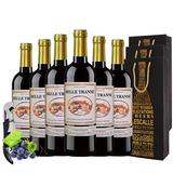 干红葡萄酒法国原品进口红酒  750ml*6瓶    卷后118元包邮