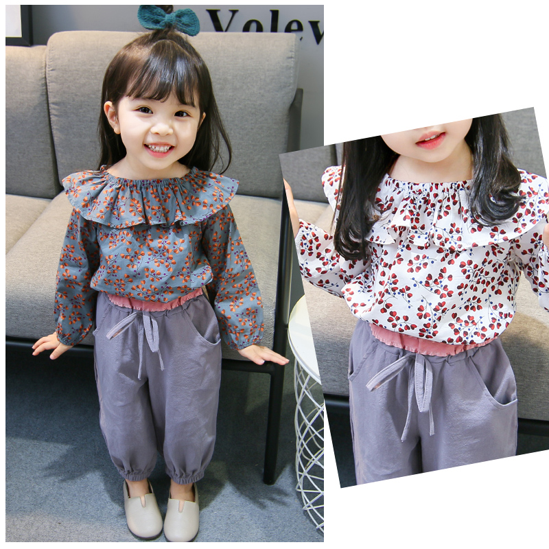 671abc0da00175 Children's clothing girls foreign style spring and autumn 2019 new Korean  fashion casual baby floral children's suit tide clothes small