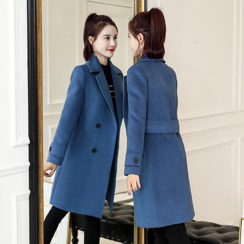 雾霾蓝毛呢女2019春新款韩版呢子中长款修身显瘦冬装收腰大衣外套