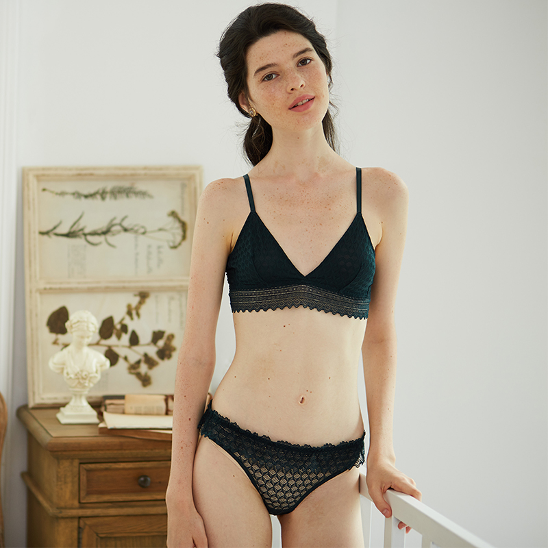 be9d0266d4849 Freelass girl dark green ultra-thin no rims French lace underwear bralette  set · Zoom · lightbox moreview · lightbox moreview ...