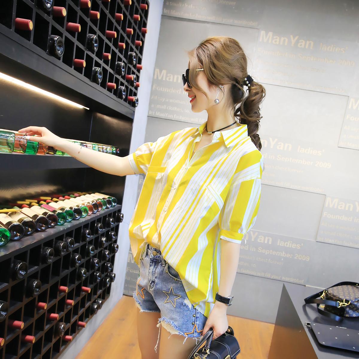 2017夏季新款女装韩版学院风百搭纯色文艺针织简约短袖衬衫上衣潮