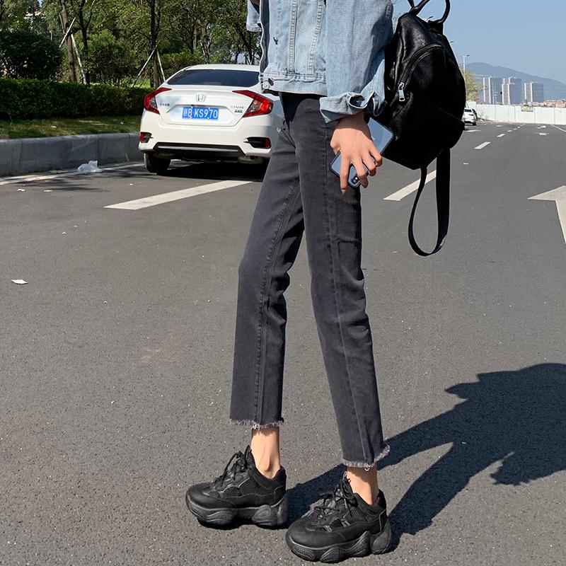 牛仔裤女直筒2019春装高腰韩版显瘦百搭宽松港味阔腿九分灰色裤子
