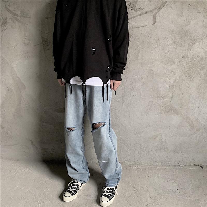2020年春季新款潮流休闲韩版破洞字母牛仔裤716-nz03-p68