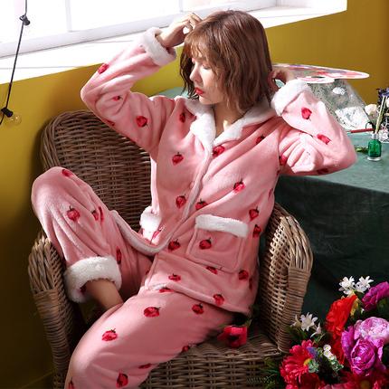 睡衣女秋冬季珊瑚绒加厚加绒法兰绒韩版开衫可外穿保暖草莓家居服