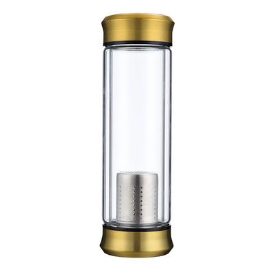 双层玻璃杯便携创意带盖过滤杯子