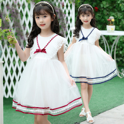 2017 new summer girl dress child princess dress bow mesh gauze dress lovely princess dress children's clothing