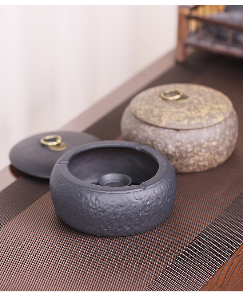 Coarse pottery ashtray with cover the fly ash sitting room tea table home furnishing articles ceramic tea set accessories creative restoring ancient ways is large