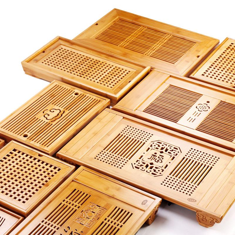 竹制茶盘家用简约排水长方形小号竹子茶台茶具托盘大号抽屉储水式