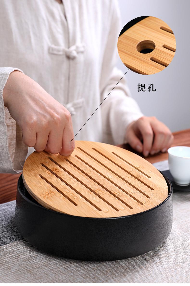 御泉陶瓷圆形储水茶盘干泡茶台家用小号竹制办公日式茶托功夫茶具