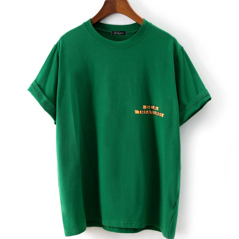 Футболка Кабель Кызылорда 2018 корейских женщин летние новые письма печатаются свободные зеленые короткие-рукавами T-рубашка корейский вентилятор экипажа шеи топы