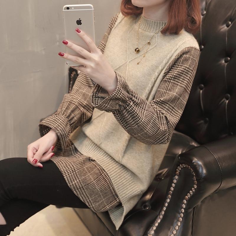 格子外套假两件毛衣女秋装2019年新款慵懒风针织外套女上衣春秋潮