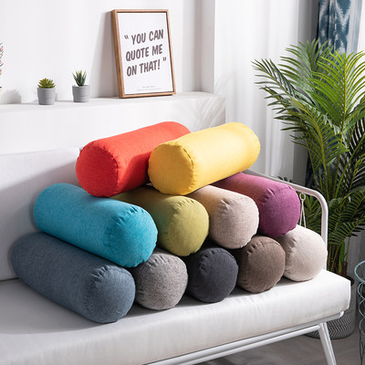 Pure color cotton and linen simple Nordic home pillow lunch break pillow sofa cushion back pillow round pillow long pillow cylindrical pillow