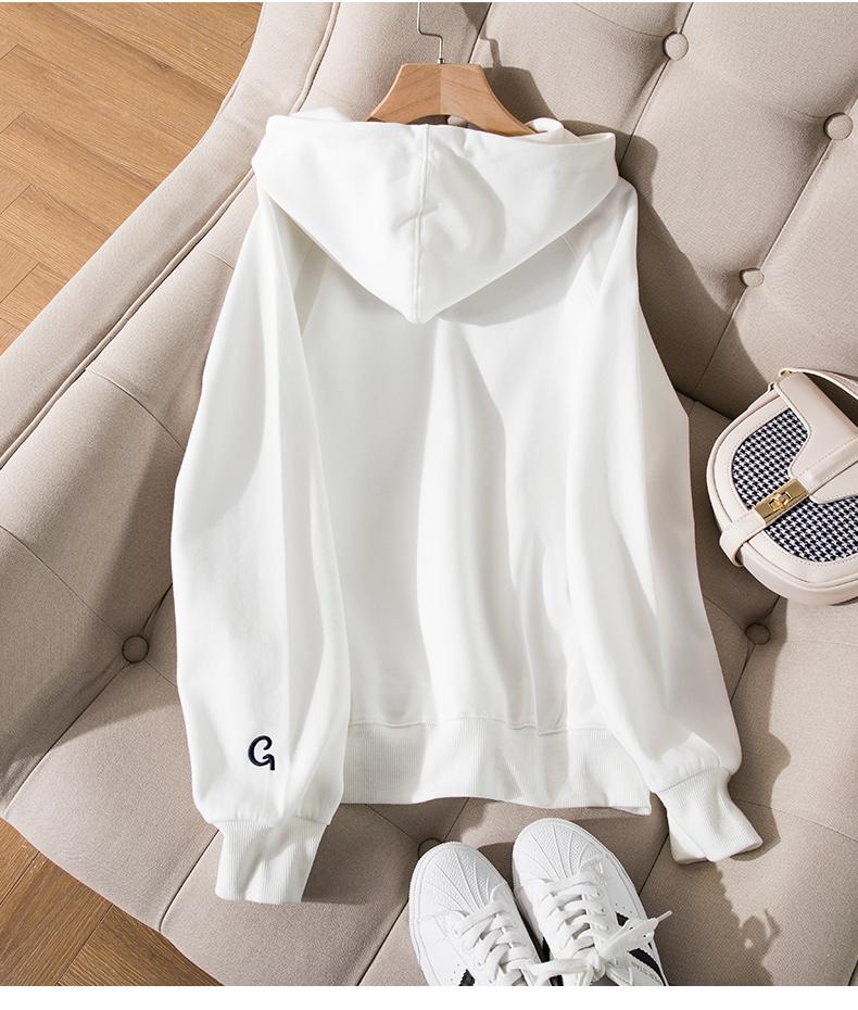白色外套连帽运动衫女春秋薄款潮宽鬆休閒长袖百搭新款上衣详细照片