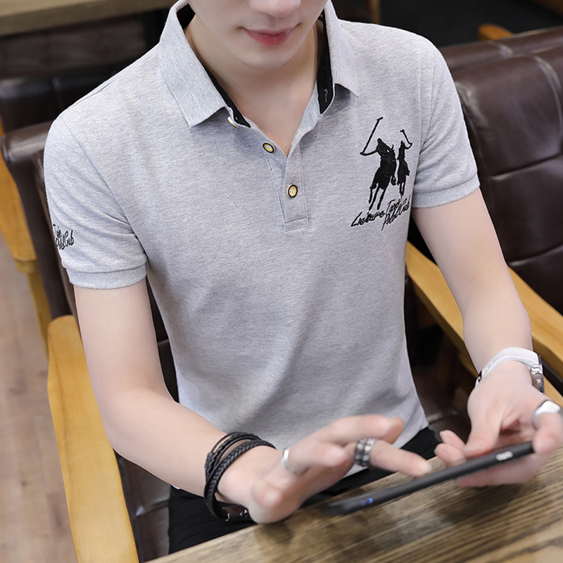 13ae87ff87e8 Korean version of the trend of men s short-sleeved T-shirt summer new men s  casual fashion half-sleeved POLO shirt lapel male clothes