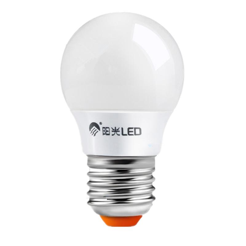 阳光照明 led灯泡 3w螺口e27e14节能灯阳光led球泡暖白黄节能光源