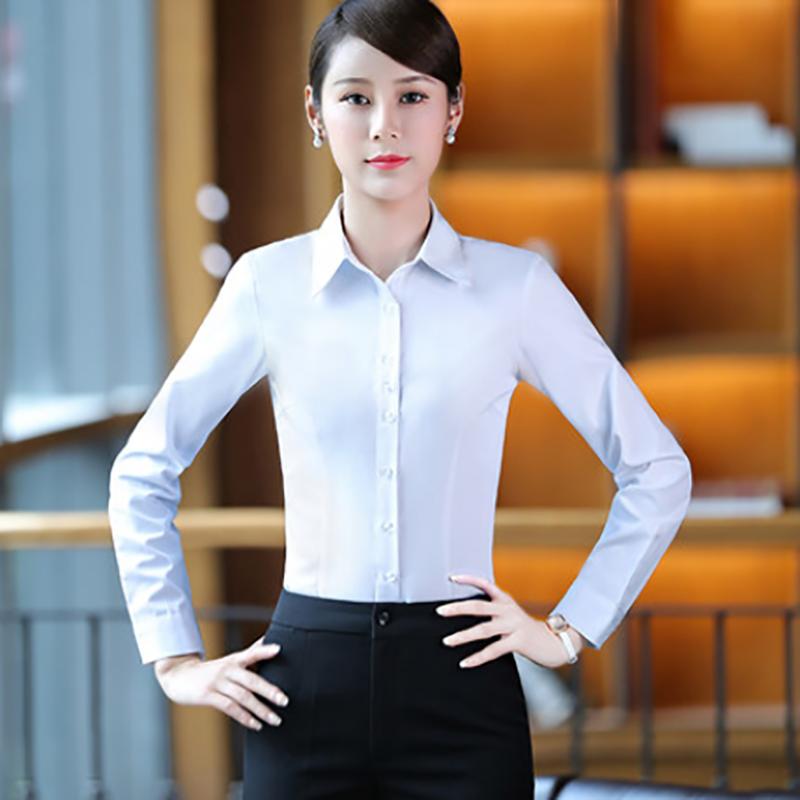 冬季加绒加厚衬衫女工装长袖韩版职业衬衣