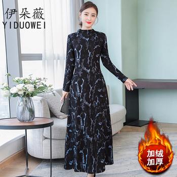 冬季新款加绒加厚时尚直筒连衣裙
