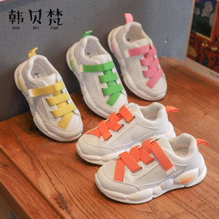 Girls sports shoes women's 2020 spring and summer new small white shoes Korean version of children breathable mesh running daddy shoes inn