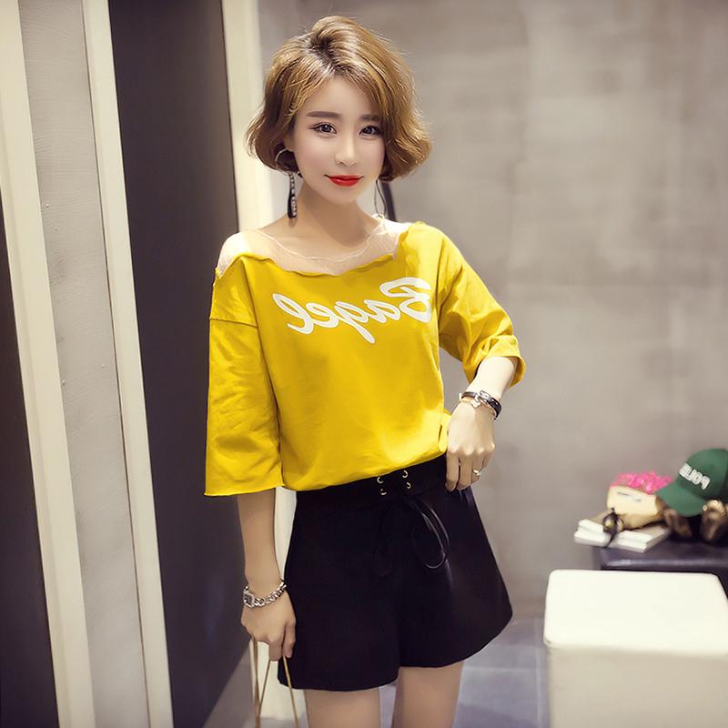 Áo thun siêu ngắn tay cho nữ mùa hè 2020 mới in triều Hàn Quốc phiên bản rỗng áo choàng lưới giữa tay áo học sinh lỏng lẻo - Áo phông