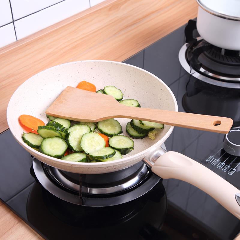 Muỗng chiên không dính gia dụng thìa chống nóng hộ gia đình nấu ăn xẻng bếp đặt tay cầm dài bằng gỗ nấu ăn - Phòng bếp